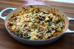 Pheasant and leek gnocchi bake