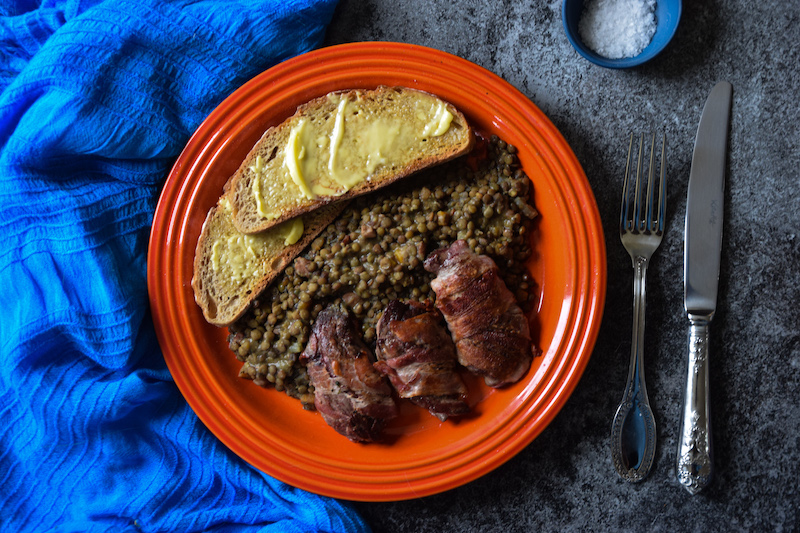 Pan-fried grouse with Puy lentils and pancetta
