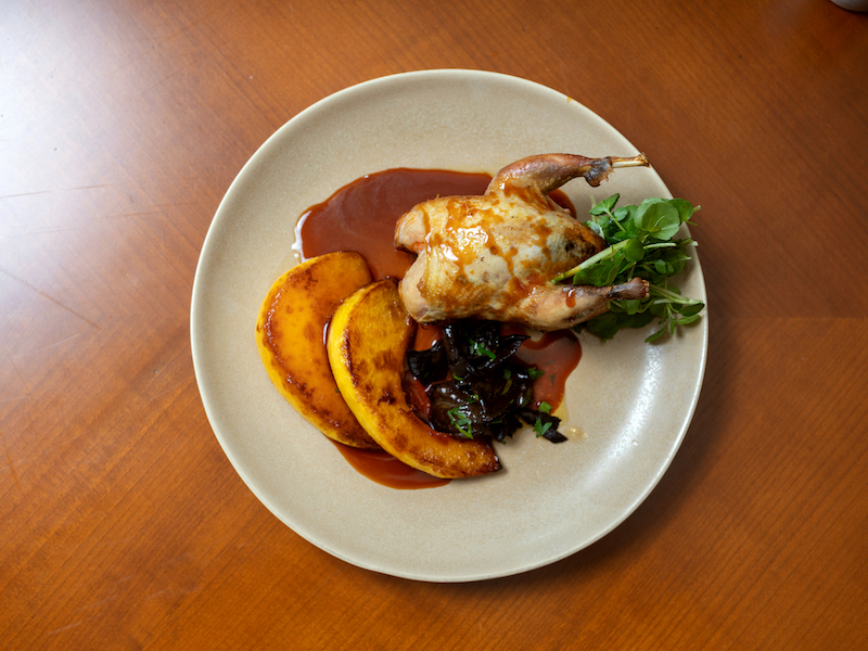 Partridge with crown prince squash and black trumpet mushrooms