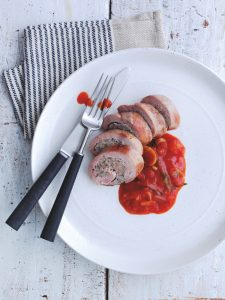 Pheasant roulades in tomato & mushroom sauce