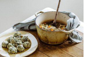 Rabbit stew with nettle dumplings