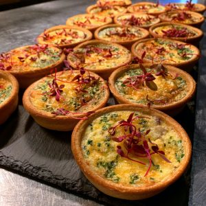 Smoked partridge, chive & parmesan quiches